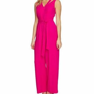 CECE Xs 2 hot pink Tie Waist Cut out Jumpsuit